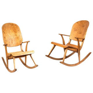 1940s Vintage Rocking Chairs by Ilmari Tapiovaara- A Pair For Sale