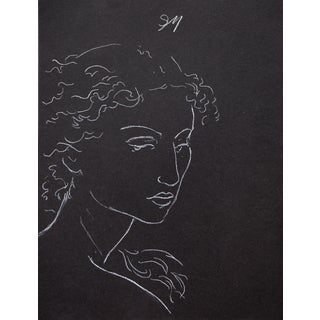 """Sarah Myers """"Pensive"""" White Charcoal Drawing For Sale"""