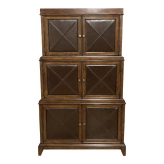 Bernhardt Two Piece Wood + Leather Storage Cabinet For Sale