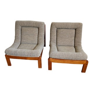 Low Danish Lounge Chairs - A Pair For Sale