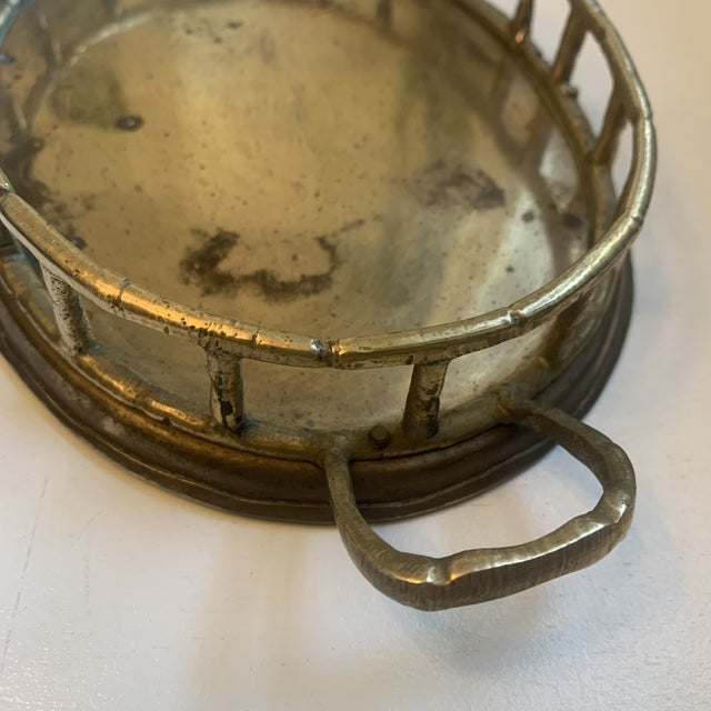 Vintage Brass Bamboo Tray For Sale - Image 4 of 6