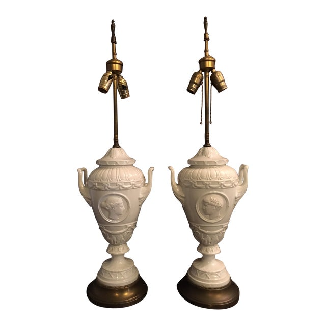 20th Century Wedgwood Style Porcelain Lamps Cameo Medallion French Empire - a Pair For Sale