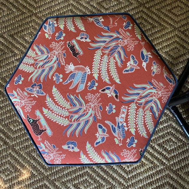 1970s 1960s Willow & Reed Chinoiserie Rattan Octagonal Ottomans- a Pair For Sale - Image 5 of 13