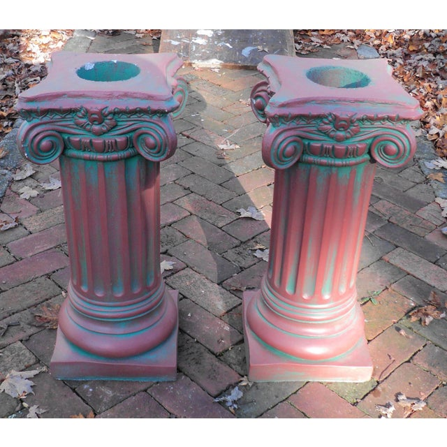 """A Pair of Antique Painted Solid Concrete Corinthian Pedestal Columns Pillars. They Measure """"25 x """"11.50 x """"11.50. Overall..."""