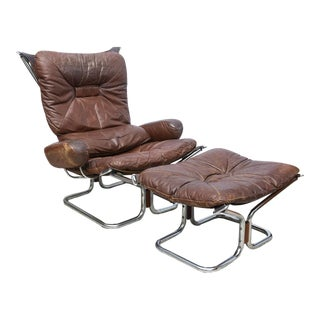 Ingmar Relling for Westnofa Chrome and Leather Chair and Ottoman Norway 1970s For Sale