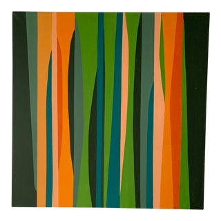1960s Abstract Linear Painting in Greens, Blues, Corals and Oranges For Sale