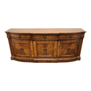 Mid-Century Italian Provincial Walnut Bow Front Sideboard / Credenza For Sale