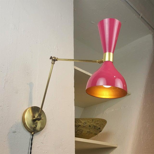 Blueprint Lighting Italian Modern Brass & Enamel Sconce *Custom Colors* - Image 4 of 8