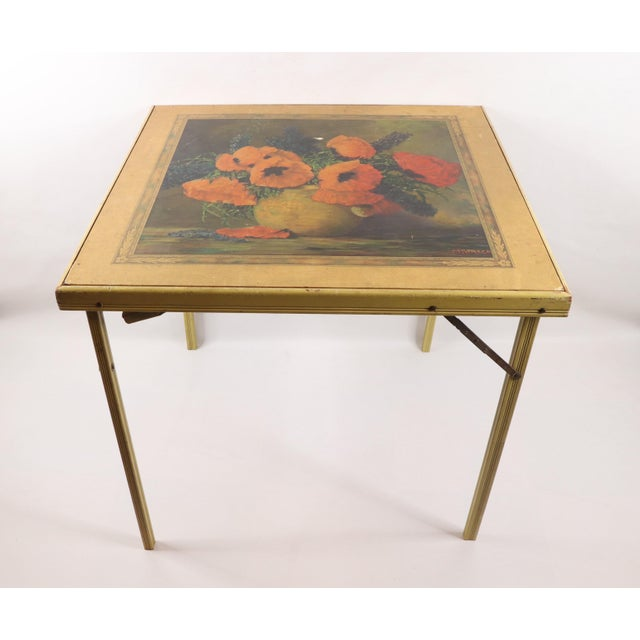 1950s Vintage Bridge Tables & Novelties M Streckenbach Poppy Flowers Table Stand For Sale - Image 12 of 12