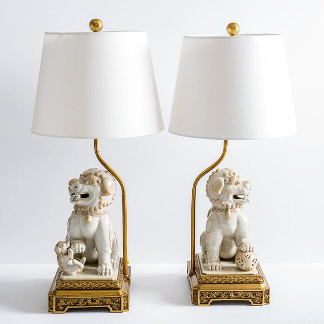 Asian Foo Dog Porcelain Table Lamps on Bronze Stands, A-Pair For Sale - Image 9 of 13