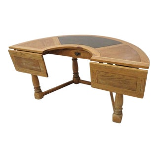 Distressed Country Oak Half Round Desk For Sale
