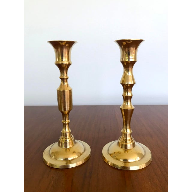 Vintage Mid-Century Brass Candlesticks - a Pair For Sale - Image 9 of 9