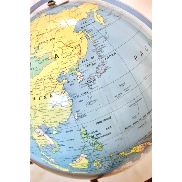 Blue A J Nystrom & Co. 1968 Standing Library Globe For Sale - Image 8 of 12