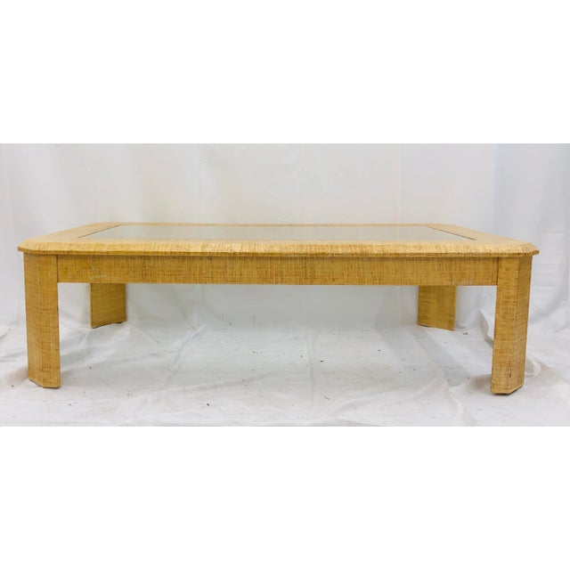 Wood Vintage Grasscloth Wrapped Coffee Table For Sale - Image 7 of 10