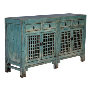 Chinese Green Painted Sideboard/Cabinet For Sale