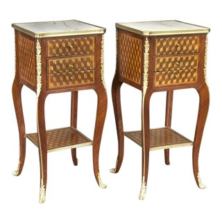 Vintage French Louis XV Marquetry and Bronze Nightstands With Marble Top - a Pair For Sale