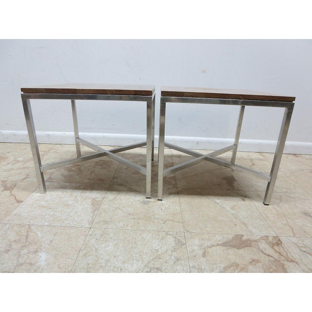 Tomlinson Milo Baughman Mid-Century Walnut Aluminum End Tables - A Pair For Sale In Philadelphia - Image 6 of 8