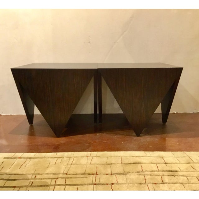 John Richard Art Deco Inspired Macassar Ebony Finished Wood Amara Point Side Tables Pair For Sale In Atlanta - Image 6 of 6