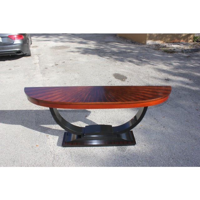 1940s Art Deco Exotic Macassar Ebony ''Sunburst'' Console Table For Sale - Image 4 of 13