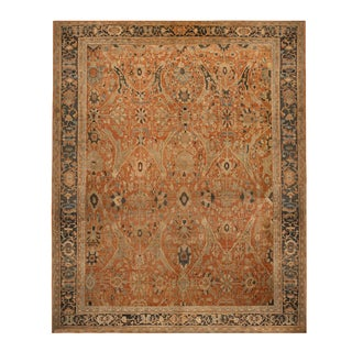 "Antique Sultanabad Geometric Orange and Beige Wool Persian Rug-18'2'x22'5"" For Sale"