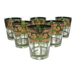Vintage Cera Golden Grapes Green Bar Tumblers - Set of 6 For Sale