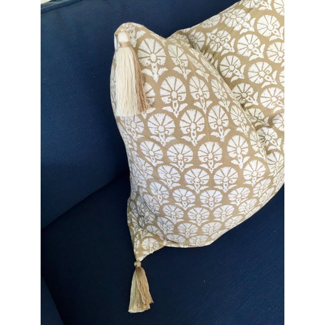 Professionally sewn, brand new, unused custom 22x22 pillow cover in a neutral Madeline Weinrib floral block print cotton...
