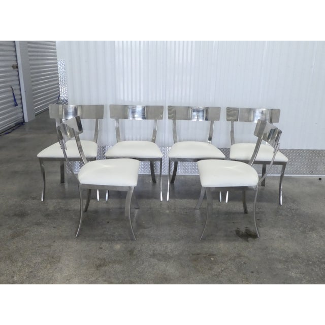Metal Post Modern Chrome / Aluminum Klismos Dining Chairs - Set of 6 For Sale - Image 7 of 13