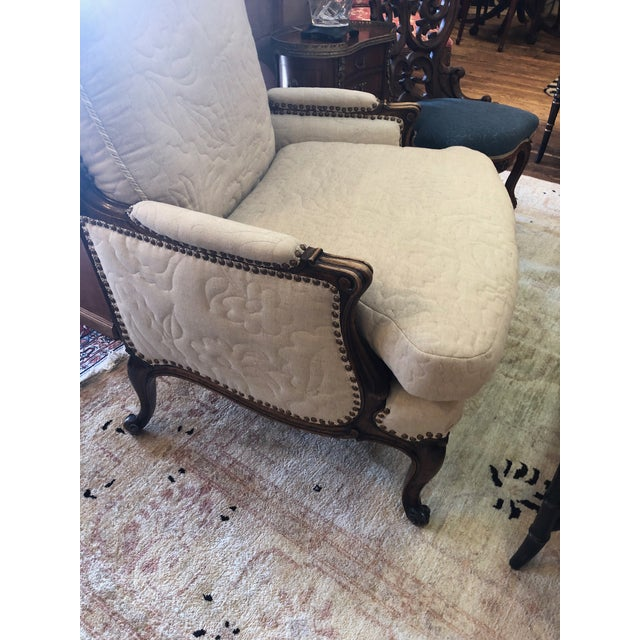 Carved Walnut French Style Club Chair With Quilted Upholstery For Sale In Philadelphia - Image 6 of 13