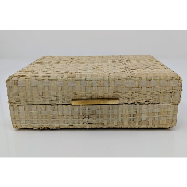 2010s Ralph Lauren Inspired Woven Straw Keepsake Box With Brass Hardware For Sale - Image 5 of 11