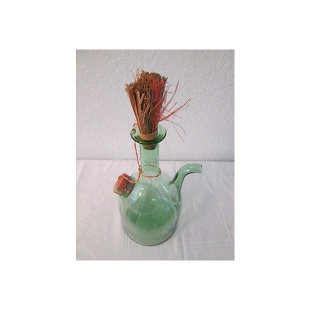 Vintage Italian Green Blown Glass Wine Carafe - Image 8 of 8
