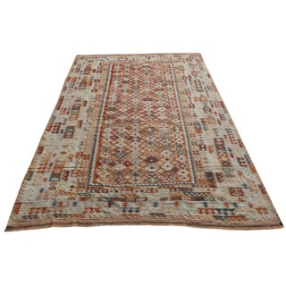 Late 19th Century Antique Vegetable Dyed Handwoven Kilim Wool Rug - 10′ × 16′3″ For Sale