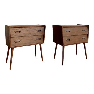 1960s Mid Century Modern Styled Teak Nightstands - a Pair For Sale