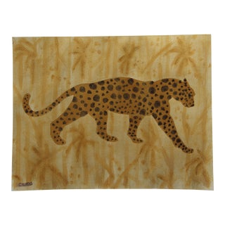 Leopard Chinoiserie Cheetah Painting by Cleo Plowden For Sale