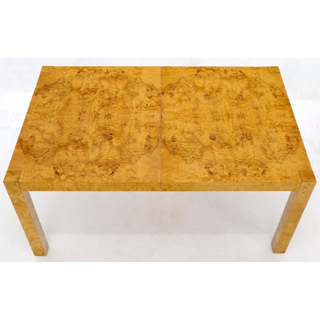 Rectangle Shape Burl Wood Dining Room Table with Two Extension Leaves Boards For Sale - Image 6 of 12