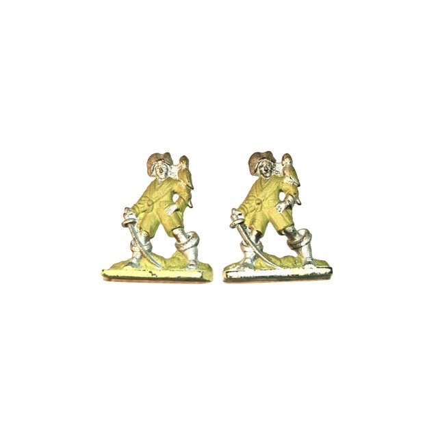 1920s Pirates With Parrots Painted Bookends - A Pair For Sale