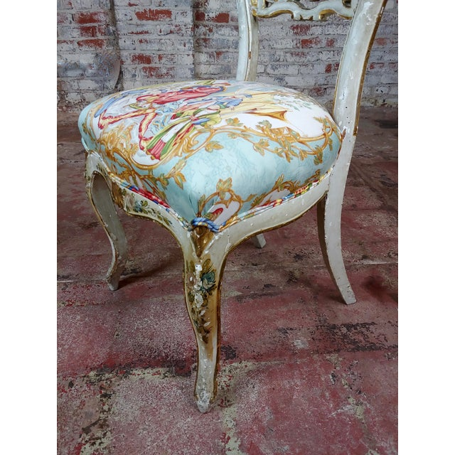Blue 18th Century Venetian Painted and Upholstered Side Chair For Sale - Image 8 of 11