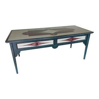 Folk Art Painted Large Custom Made Table For Sale