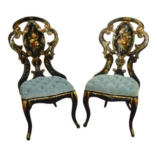 19th Century French Hand-Painted and Gilt Three-Piece Set, Chairs and Matching Table, With Mother-Of-Pearl