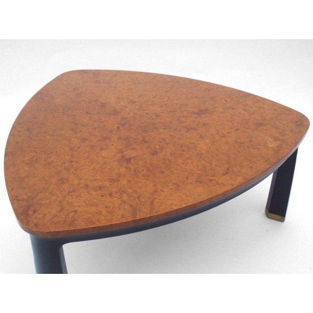 Carpathian elm burl top cocktail table by edward wormley for dunbar