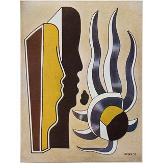 "1948 Fernand Léger Original Period Parisian ""Composition With Two Profiles"" Lithograph For Sale"