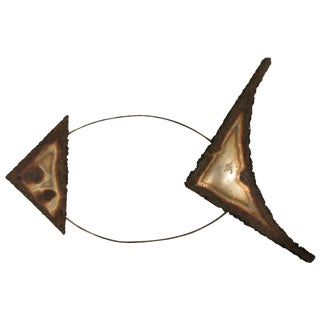 1970s Metal Fish Wall Sculpture For Sale