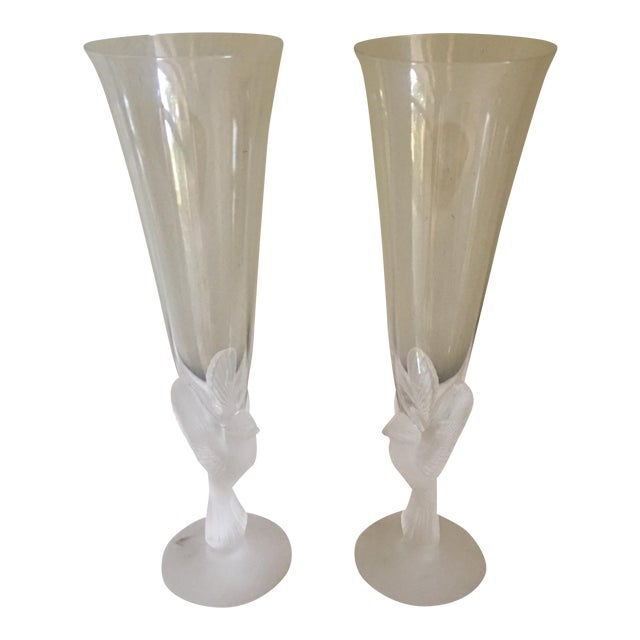 Vintage Sasaki Wings Frosted Dove Stem Glasses - A Pair - Image 1 of 5