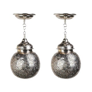 Boho Chic Moroccan Silver Chandelier - a Pair For Sale