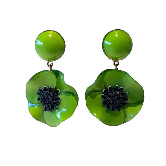 Cilea Green Poppy French Statement Earrings For Sale - Image 11 of 11