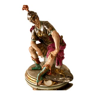 Giuseppe Cappe Porcelain Figurine Capodimonte Sculpture of Roman Warrior For Sale