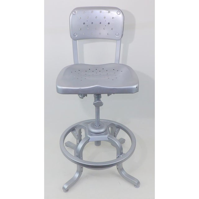 Good Form Mid-Century Modern Industrial Aluminum Drafting Swivel Stool Chair - Image 7 of 11