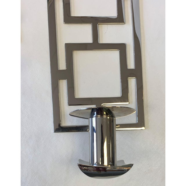 Metal Modern Chrome Wall Sconces - a Pair For Sale - Image 7 of 10