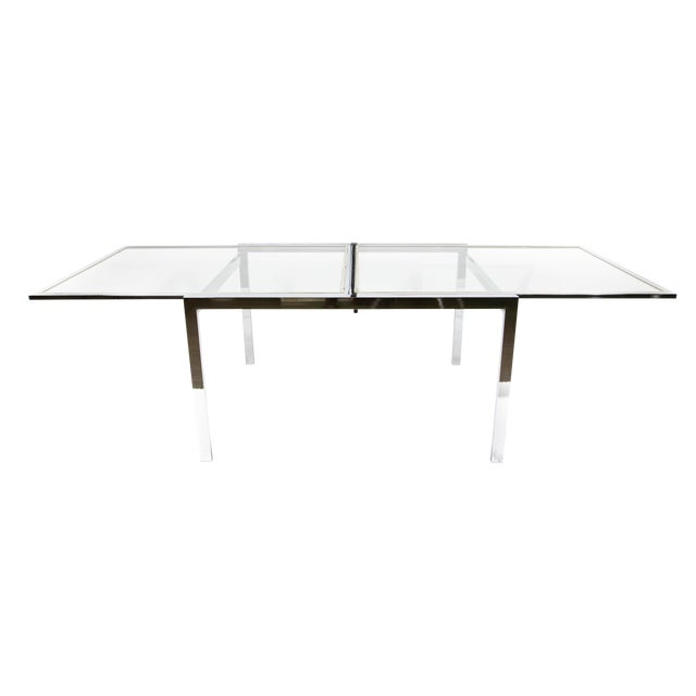 1950s Modern Milo Baughman Nickel Plated Glass Expansion Table For Sale