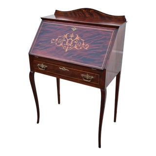 Antique Inlaid Mahogany Edwardian Style Slant Front Desk For Sale