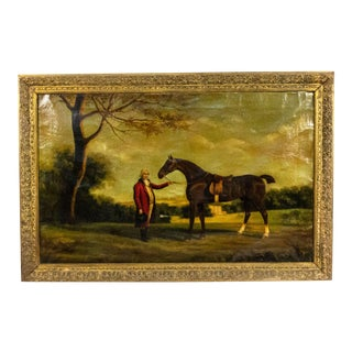 19th Century English Victorian Man and Horse Oil Painting For Sale
